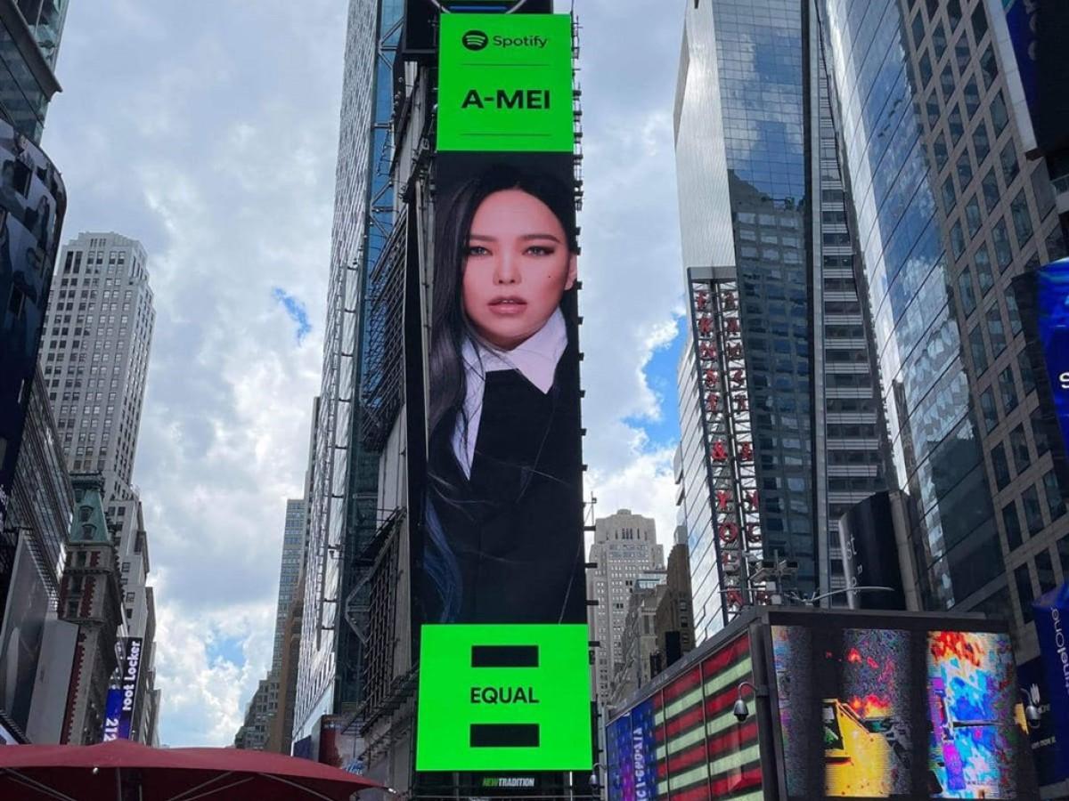 張惠妹登時報廣場大螢幕 齊心傳遞女性平權